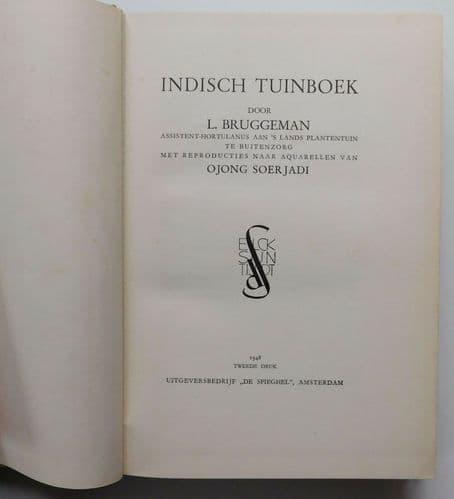 Indisch Tuinboek DUTCH East Indies botany flower book Bruggeman Soerjadi 1948